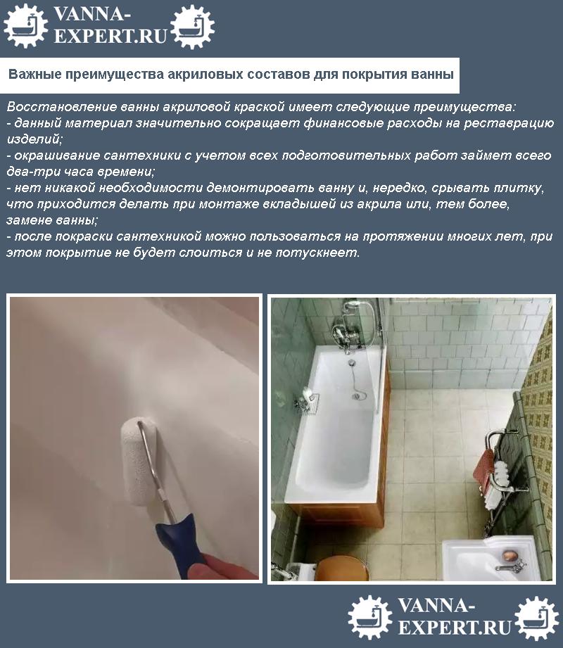 Важные преимущества акриловых составов для покрытия ванны