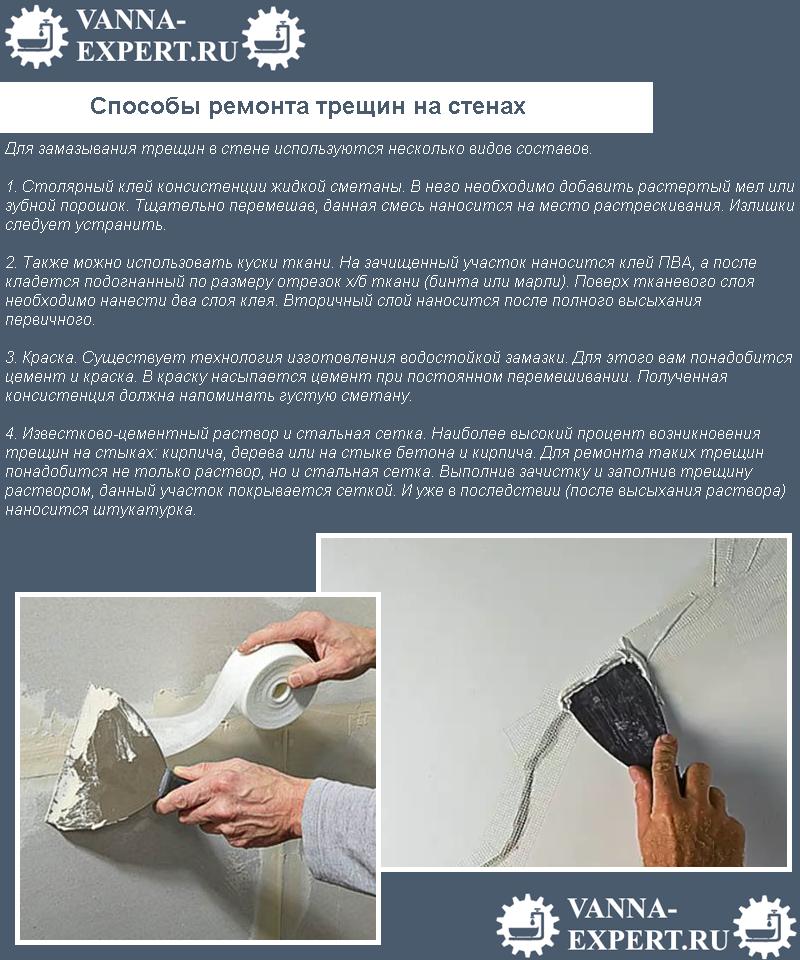 Способы ремонта трещин на стенах