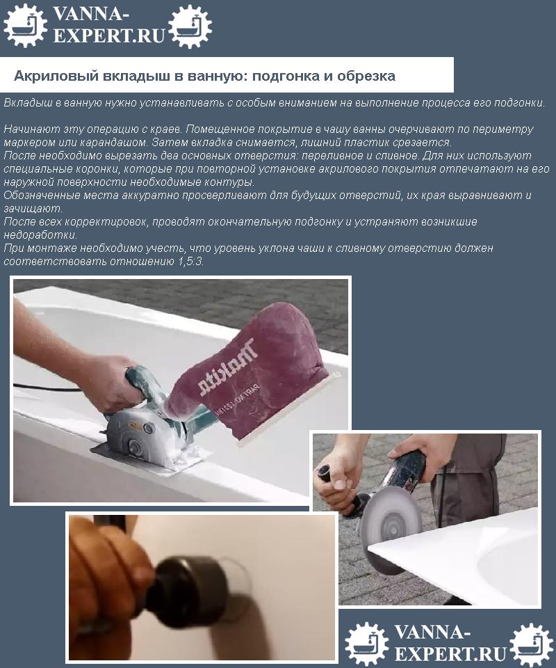 Акриловый вкладыш в ванную: подгонка и обрезка