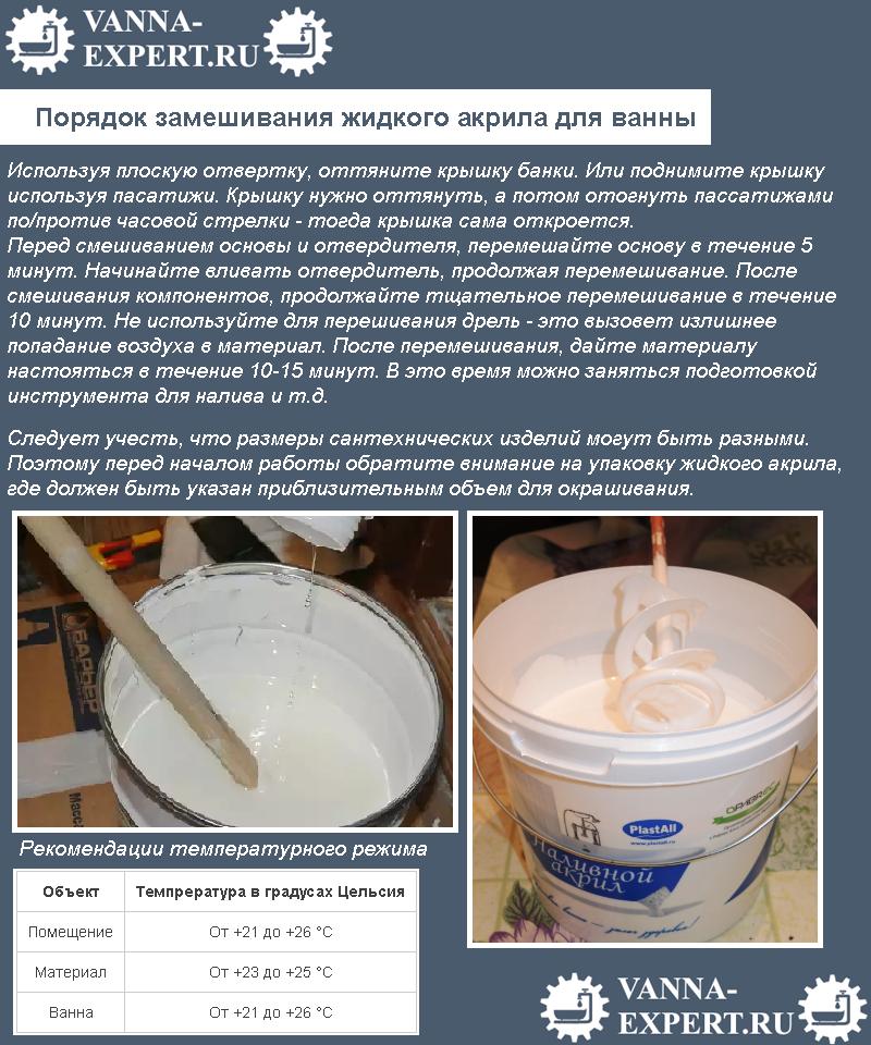 Порядок замешивания жидкого акрила для ванны