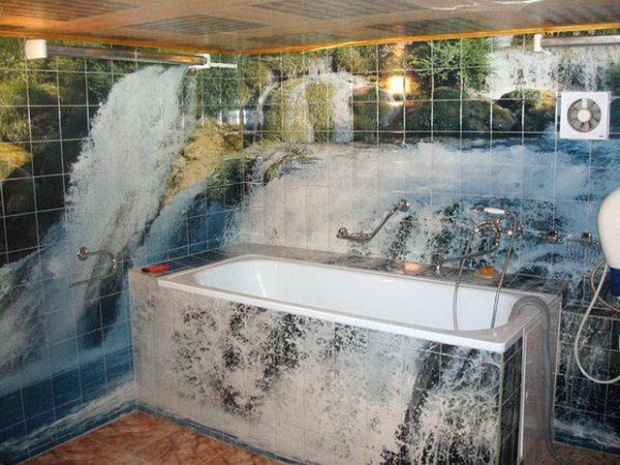 Интерьер ванной комнаты, 3d плитка с прекрасным пейзажем