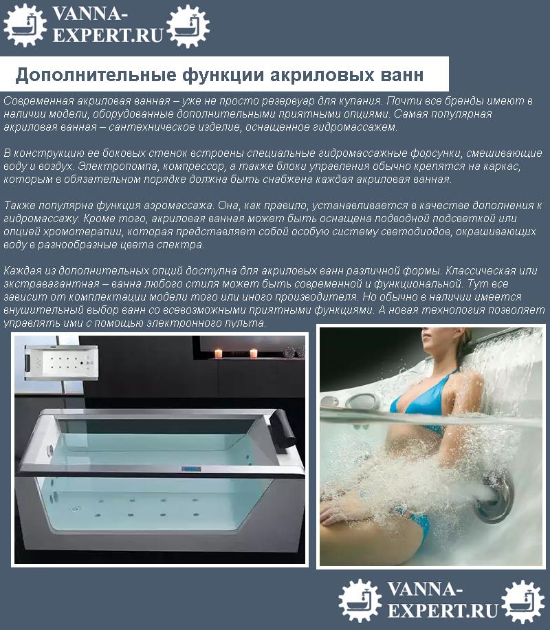 Дополнительные функции акриловых ванн