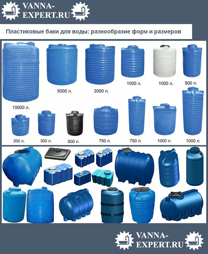 Пластиковые баки для воды: разнообразие форм и размеров