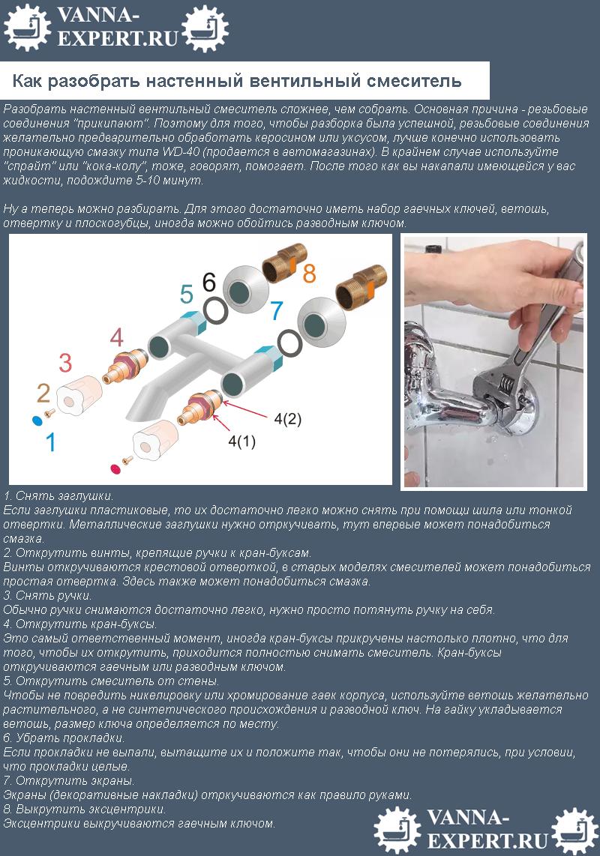 Как разобрать настенный вентильный смеситель