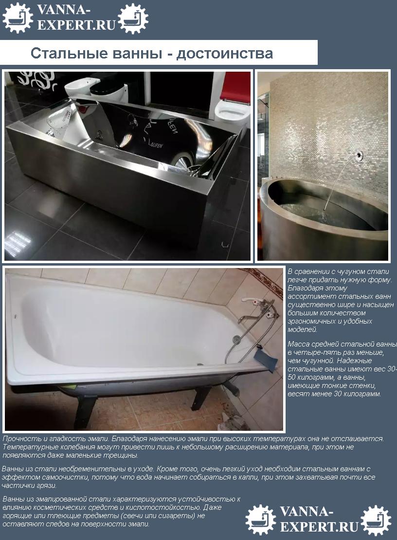 Стальные ванны - достоинства
