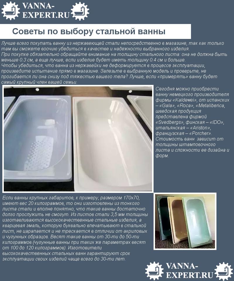 Советы по выбору стальной ванны