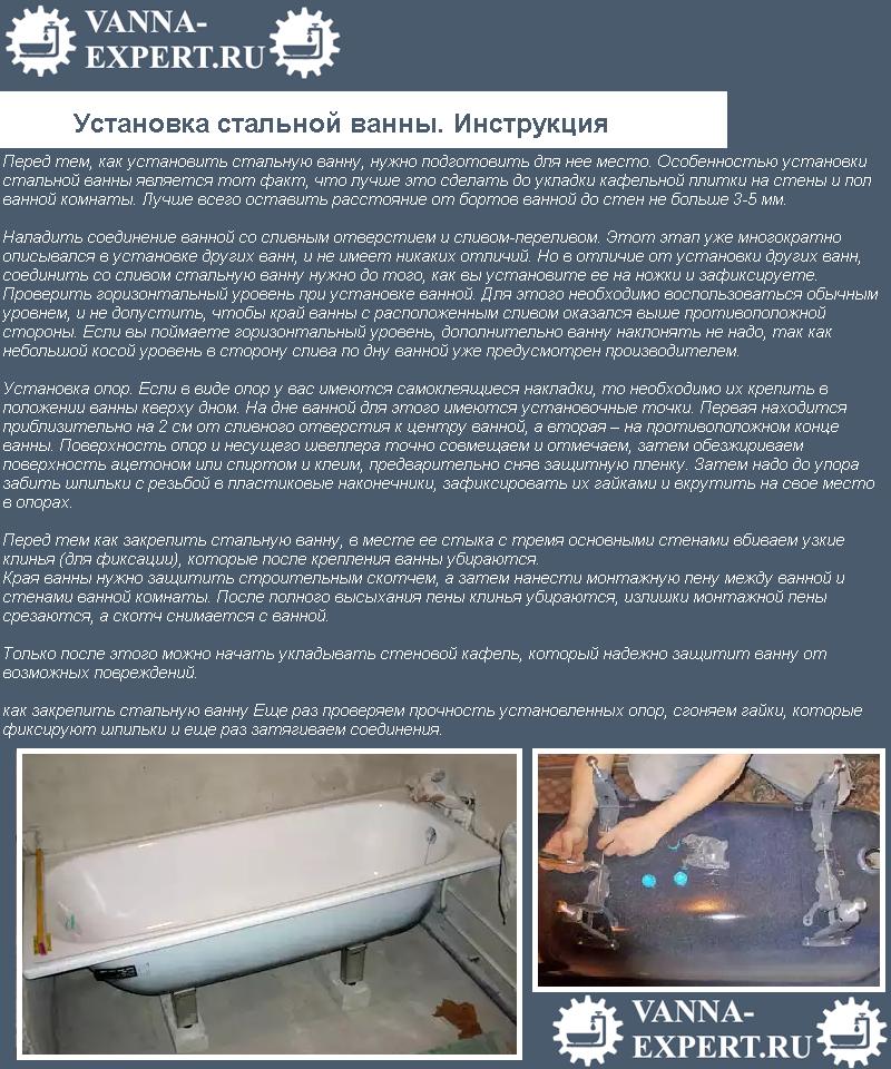 Установка стальной ванны. Инструкция