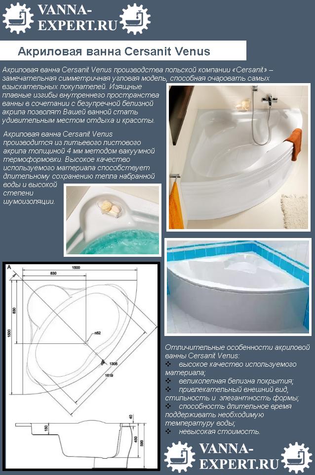 Акриловая ванна Cersanit Venus
