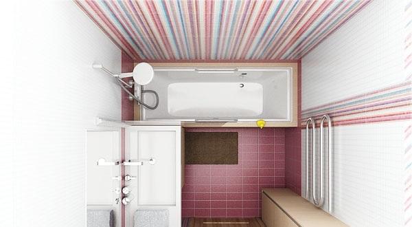 Дизайн-проект ванной комнаты с полосатыми стенами