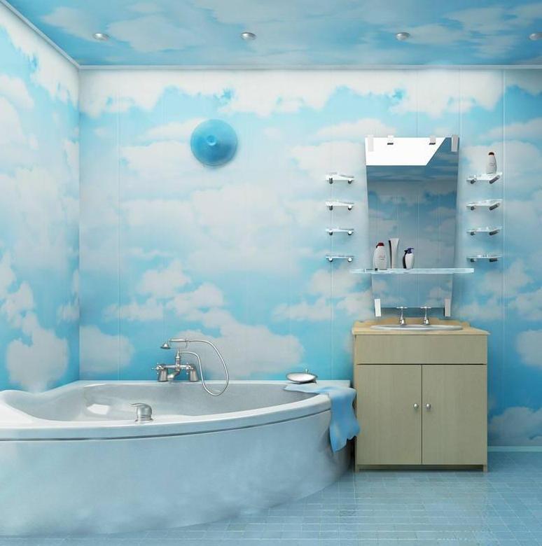 На фото пример отделки ванной комнаты пластиковыми панелями