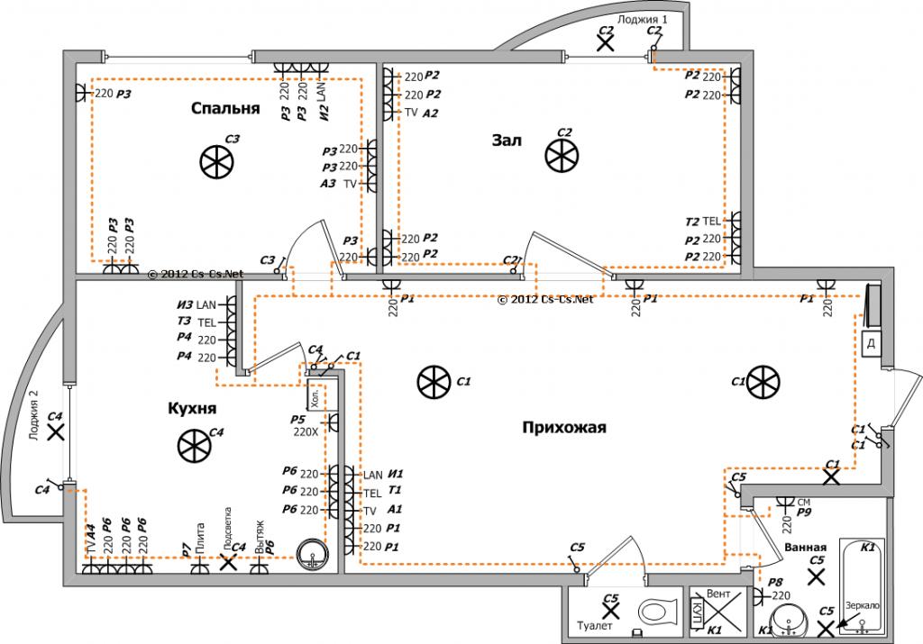 Схема электропроводки, пример