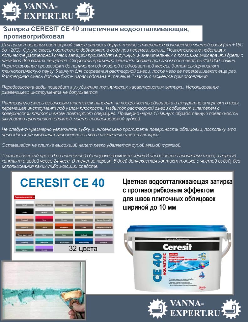 Затирка CERESIT CЕ 40 эластичная водоотталкивающая, противогрибковая