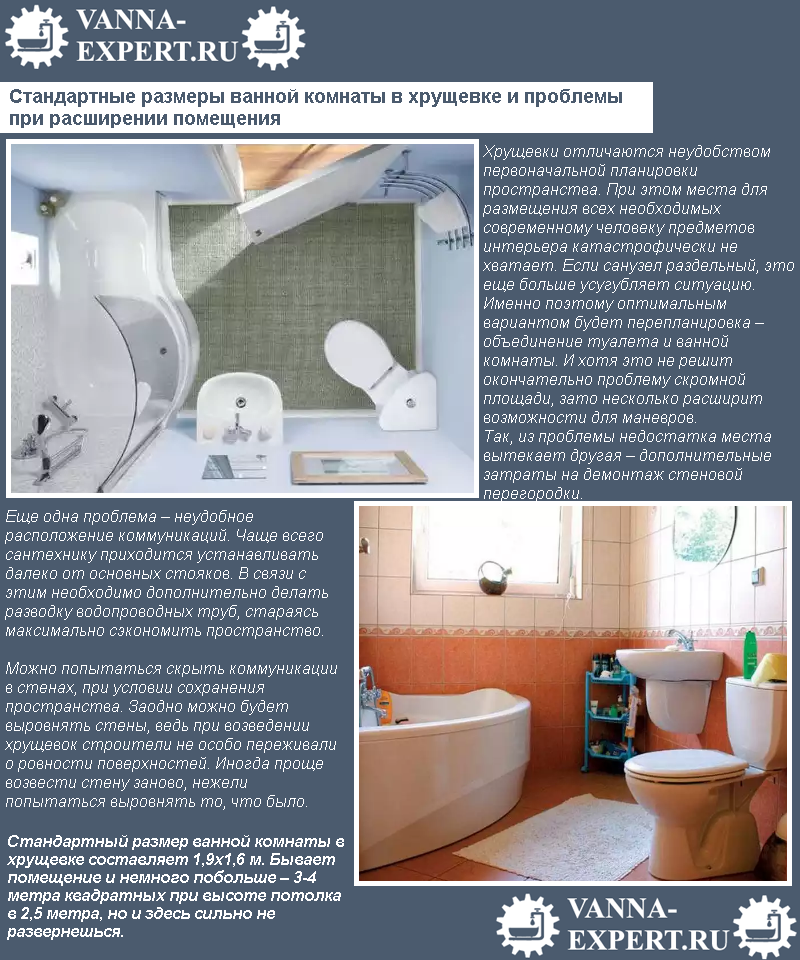 Стандартные размеры ванной комнаты в хрущевке и проблемы при расширении помещения