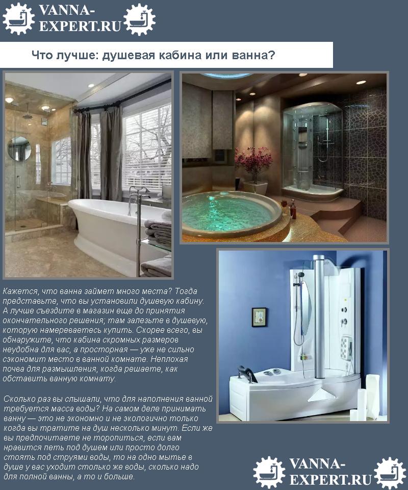 Что лучше: душевая кабина или ванна?