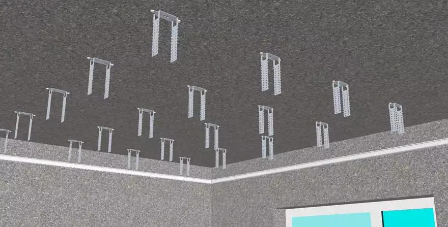 Направляющий профиль, закрепленный по периметру стены и прямые подвесы
