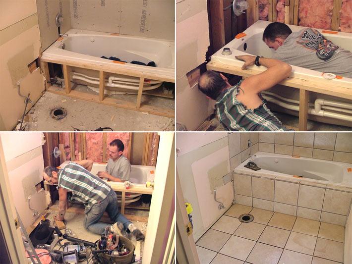 Установка ванны на деревянный каркас