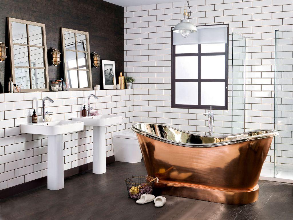 Ванная комната в стиле лофт без ярких цветных акцентов