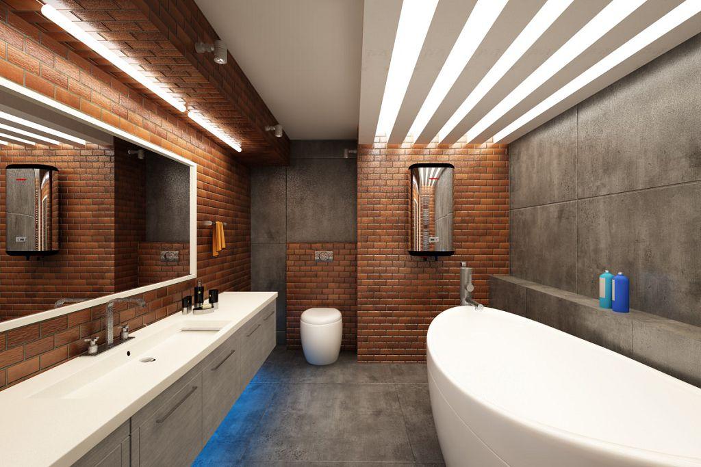 Ванная встиле лофт отличается просторностью
