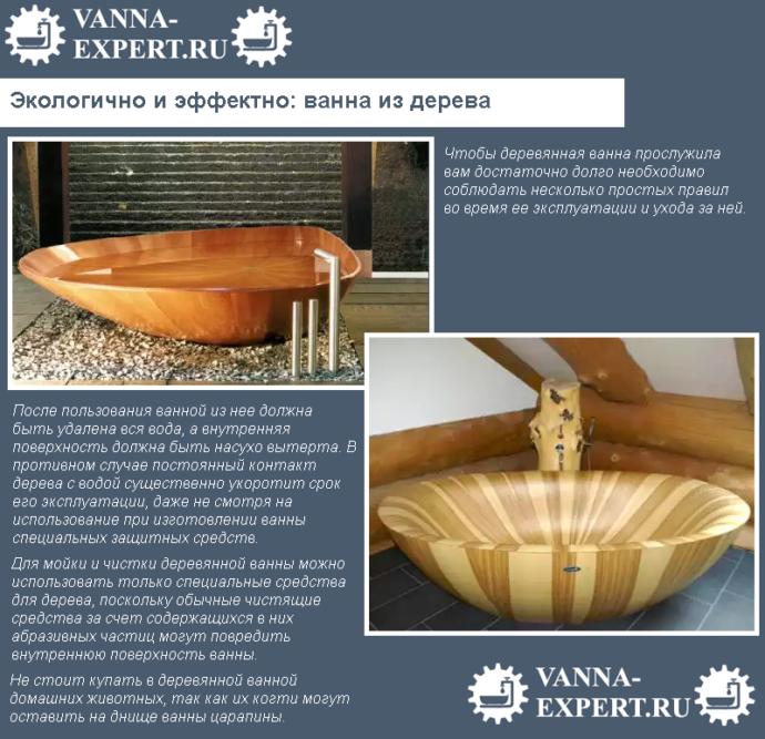 Экологично и эффектно: ванна из дерева