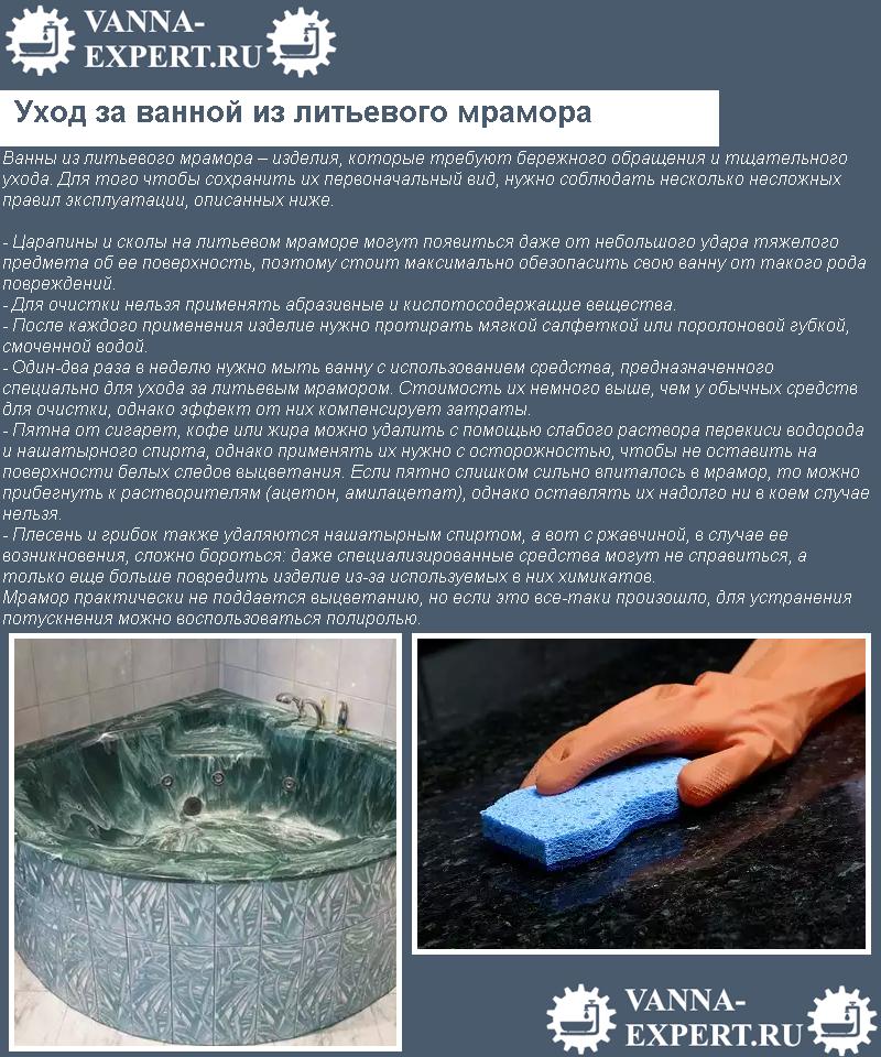 Уход за ванной из литьевого мрамора