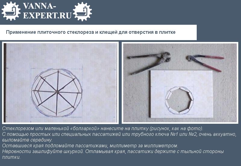 Применение плиточного стеклореза и клещей для отверстия в плитке