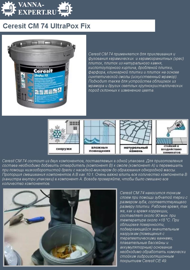 СМ 74 UltraPox Fix. Химически стойкий эпоксидный клей для приклеивания плитки и заполнения швов
