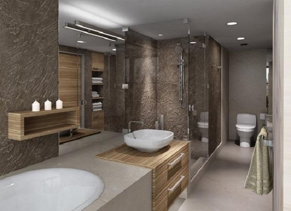 Фактурная штукатурка в отделке стен для ванной комнаты
