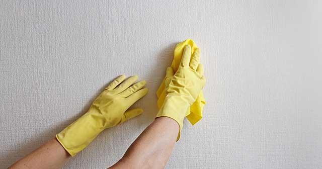 Промывая стену, не забудьте надеть перчатки