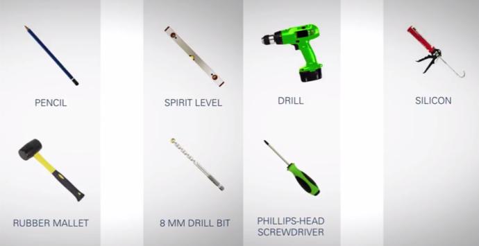 Инструменты для установки душевой штанги