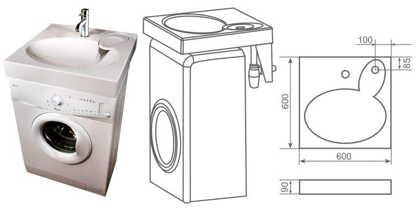 Накладная раковина для установки над стиральной машиной