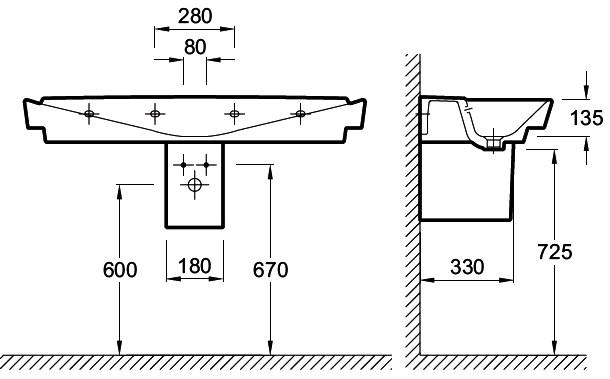 Схема подвесной раковины с размерами