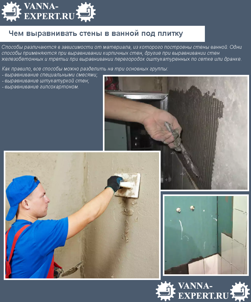 Чем выравнивать стены в ванной под плитку