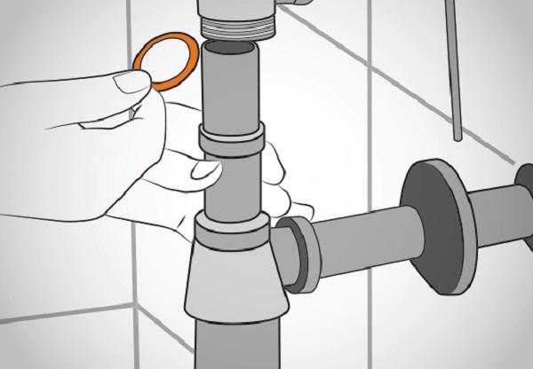 Установка сливной трубы и отводной арматуры