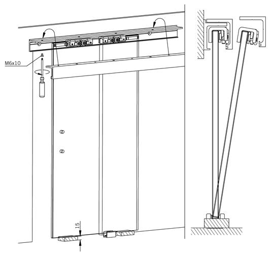 Установка стеклянной двери на рельсы