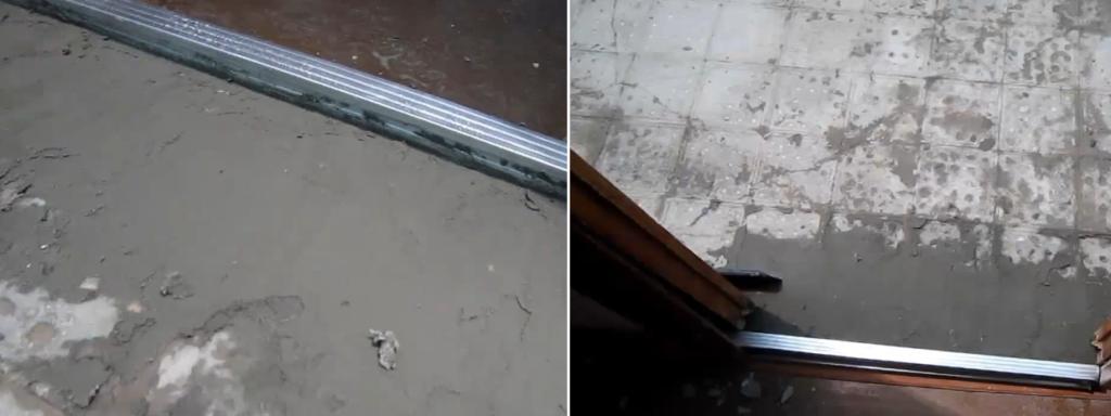 Закрепите профиль, чтобы смесь наливного пола не вытекла за пределы ванной комнаты