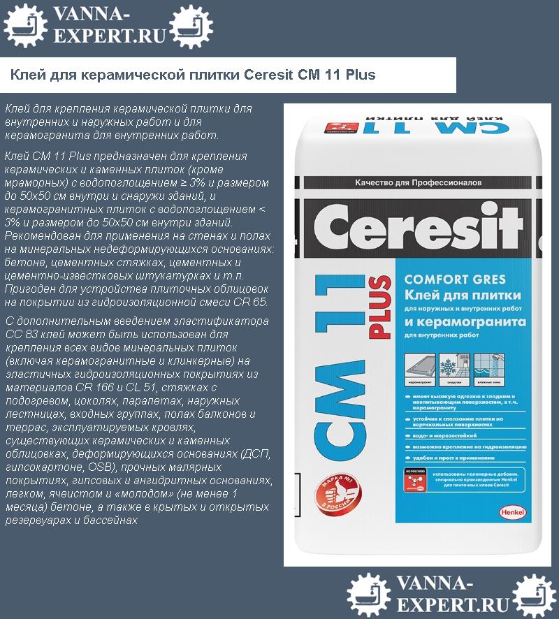 Клей для керамической плитки Ceresit CM 11 Plus