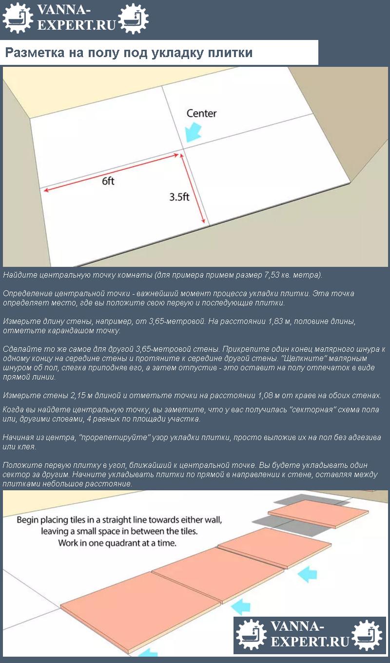 Разметка на полу под укладку плитки