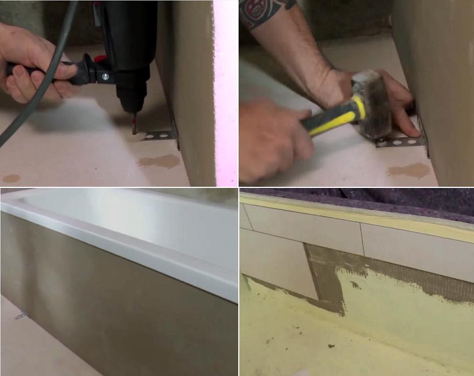 Один из способов закрыть пространство под ванной
