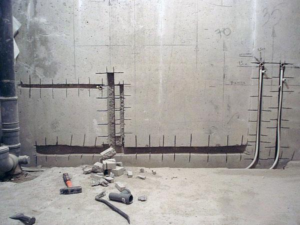 Штробление под трубы, пример