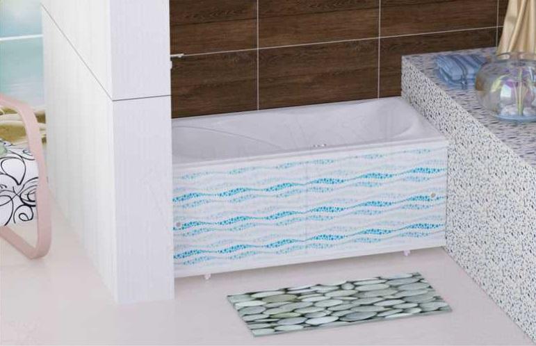 Экран прекрасно вписывается в интерьер ванной комнаты