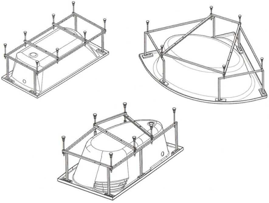 Акриловые ванны разных форм. Схема каркасов