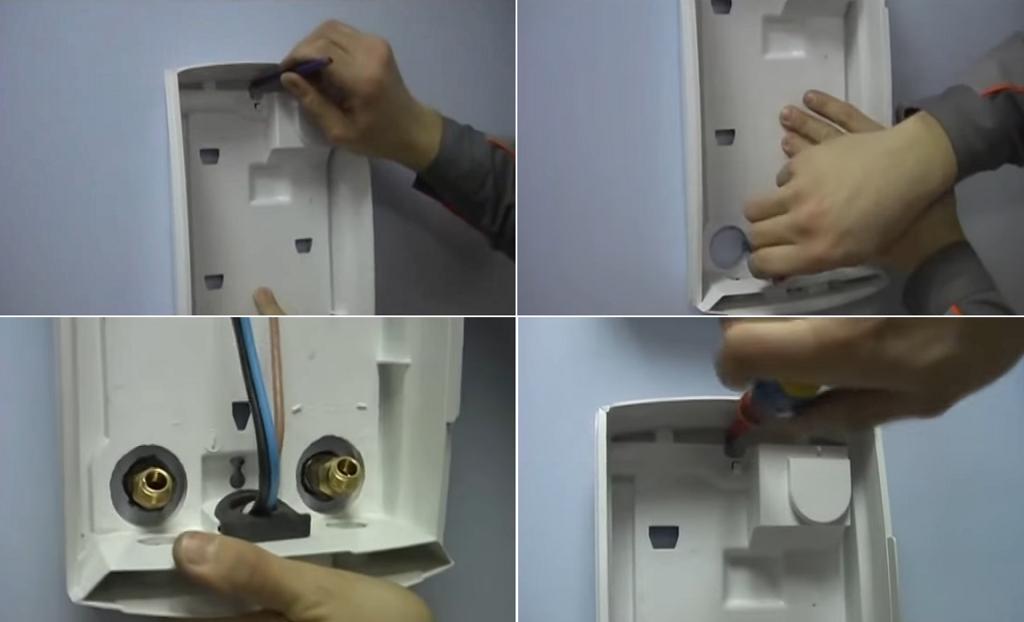 Фиксация задней стенки водонагревателя