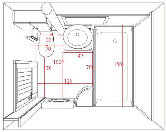 План ванной комнаты с размерами