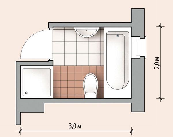 Планировка ванной комнаты с ванной и душевой кабиной
