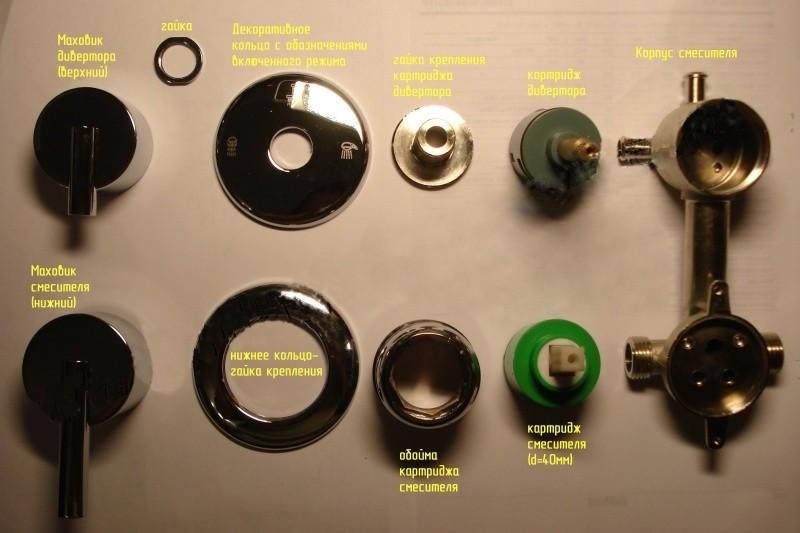 Устройство смесителя из латуни для душевой кабины