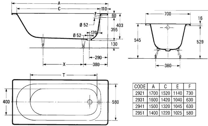 Ванна чугунная 1500 х 700 - чертеж, размеры