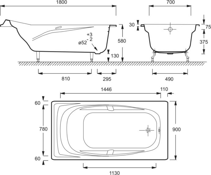 Схема ванны Jacob Delafon Super Repos 180x90