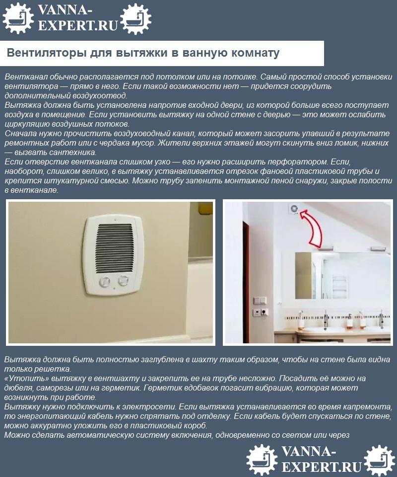 Вентиляторы для вытяжки в ванную комнату