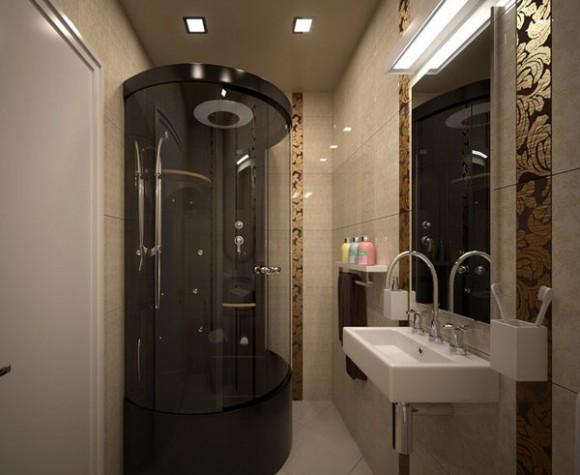 Душевая кабина в маленькой ванной комнате — оптимальное решение в этом случае, поскольку она компактная и функциональная
