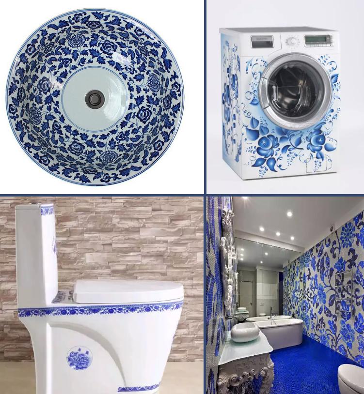 Единая цветовая гамма в оформлении ванной комнаты, раковины, унитаза, стиральной машины